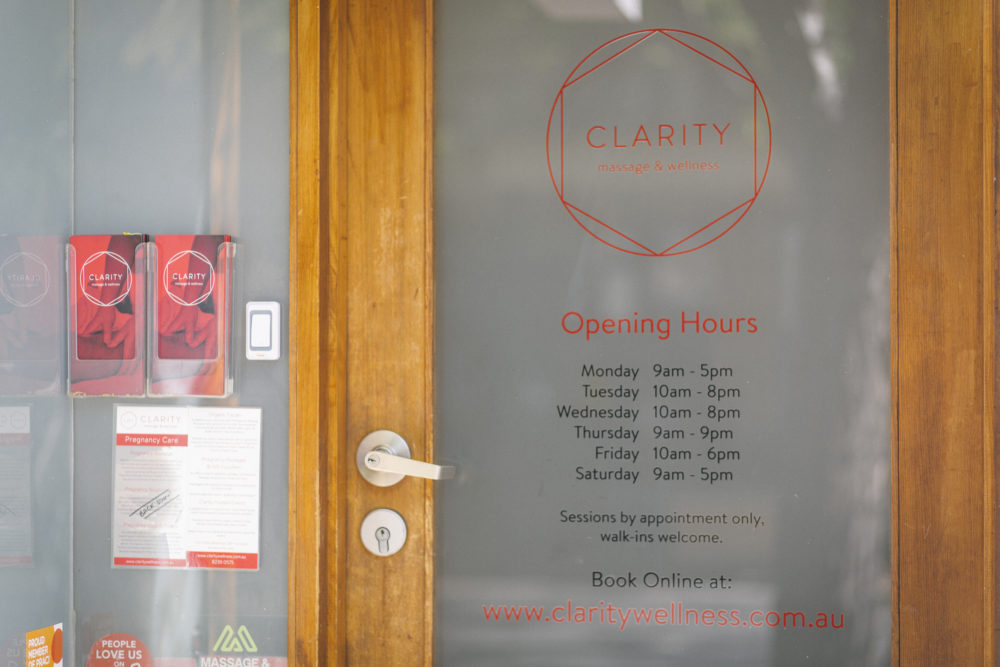 welcome to clarity massage and wellness centre front door