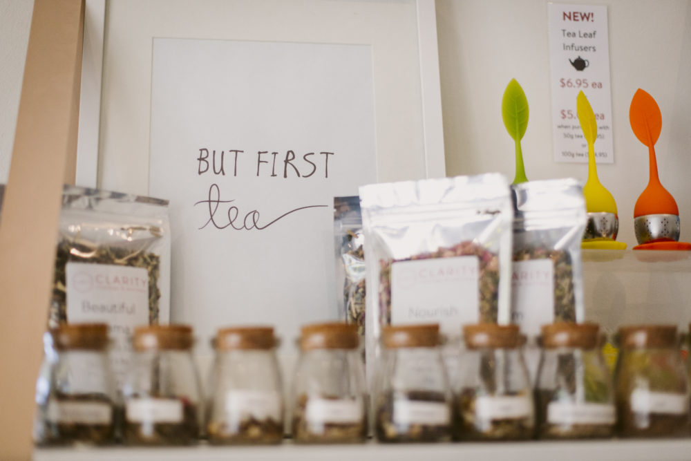 organic tea selection at at clarity wellness centre north adelaide