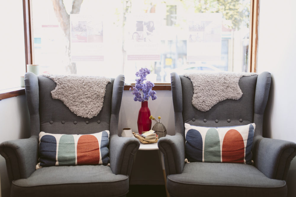 snug waiting chairs at clarity wellness centre north adelaide