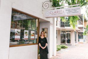 Clarity Wellness Managing Director Sarah Watson standing at front door